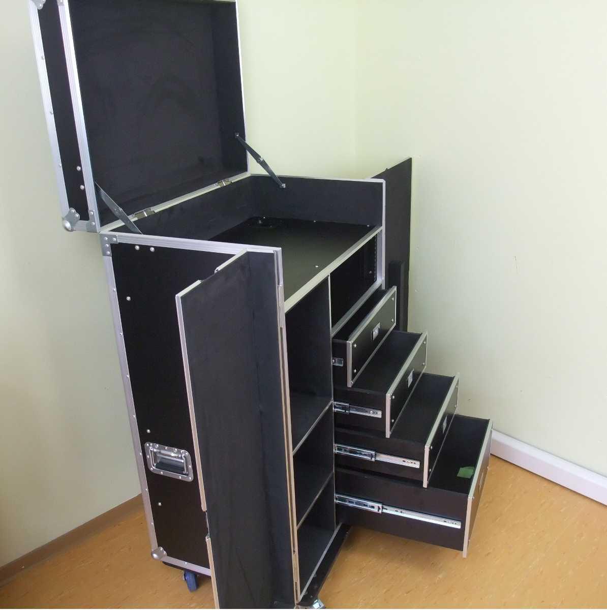 universal schubladen case dpc 1 rollbar tisch tourcase roadiecase transportcase ebay. Black Bedroom Furniture Sets. Home Design Ideas