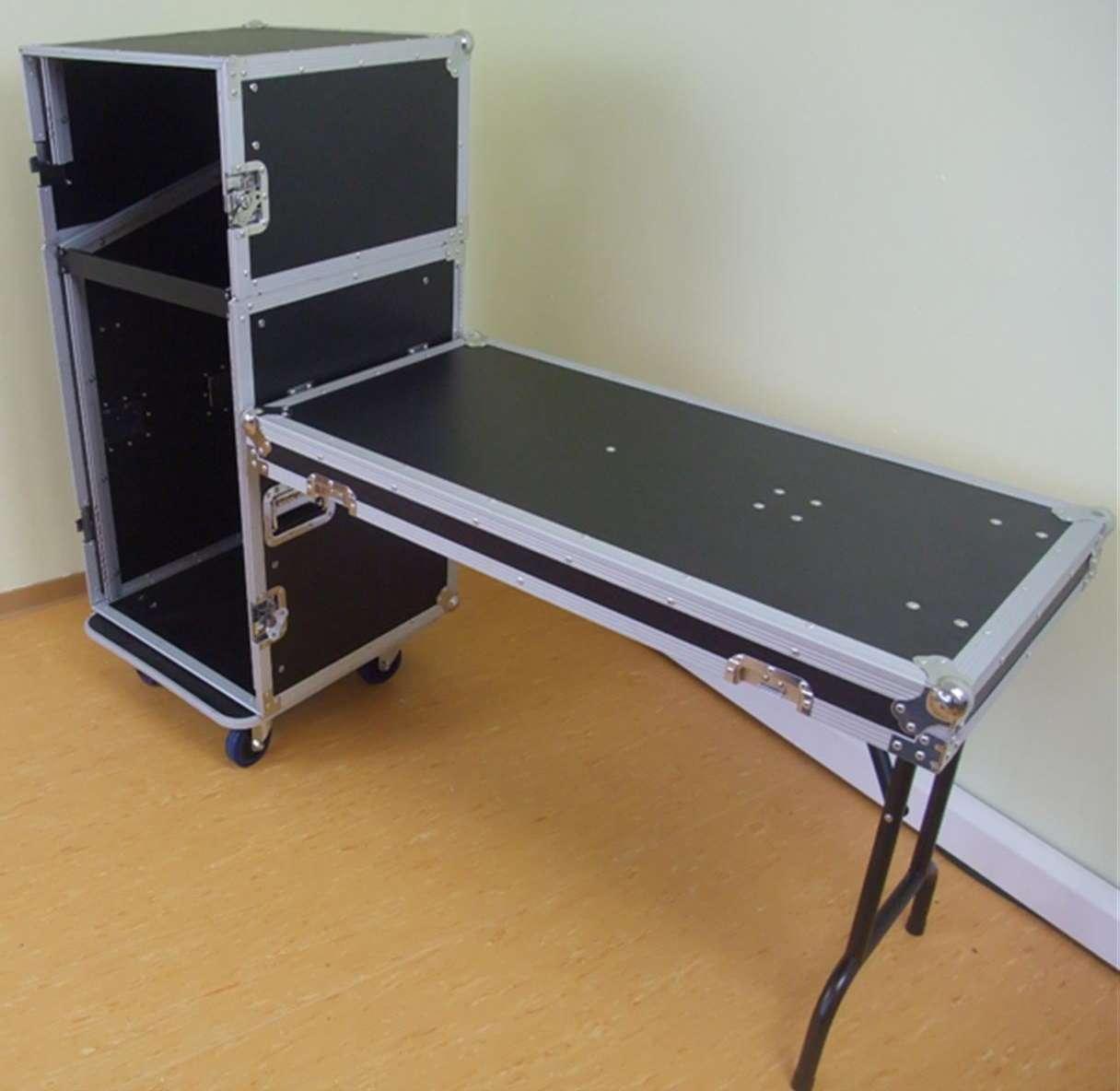 5 16 he kombicase mit tisch winkelrack all in one rack dj. Black Bedroom Furniture Sets. Home Design Ideas