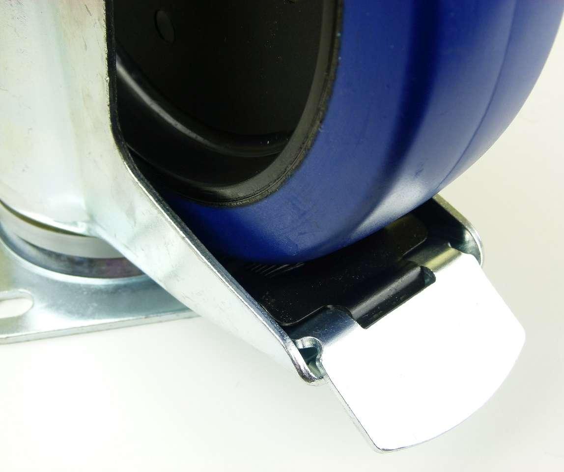 1 set 200 mm sl transportrollen mit bremse bockrollen blue wheels lenkrollen ebay. Black Bedroom Furniture Sets. Home Design Ideas