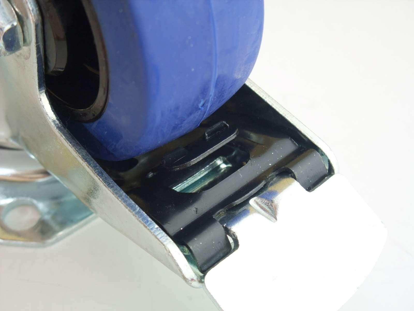 4 sets 80 mm sl lenkrollen mit bremse bockrollen blue wheel rollen m belrollen. Black Bedroom Furniture Sets. Home Design Ideas