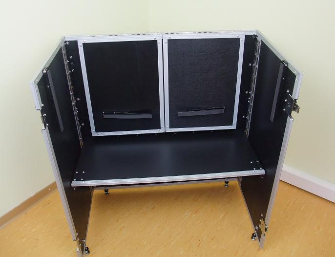 dj tisch zusammenklappbar werbestand portabler dj tisch case info desk neu ebay. Black Bedroom Furniture Sets. Home Design Ideas