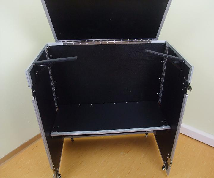 table de dj pliable portable mobile bar stand promotionnel flight case ebay. Black Bedroom Furniture Sets. Home Design Ideas