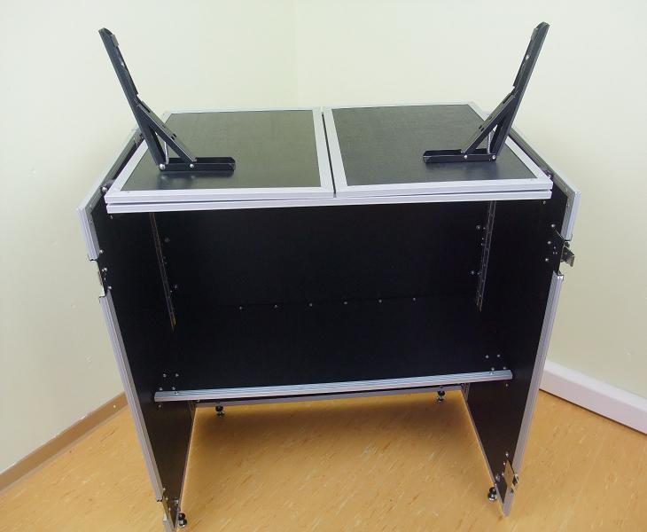 dj tisch zusammenklappbar werbestand portabler dj tisch case info desk neu ebay. Black Bedroom Furniture Sets. Home Design Ideas