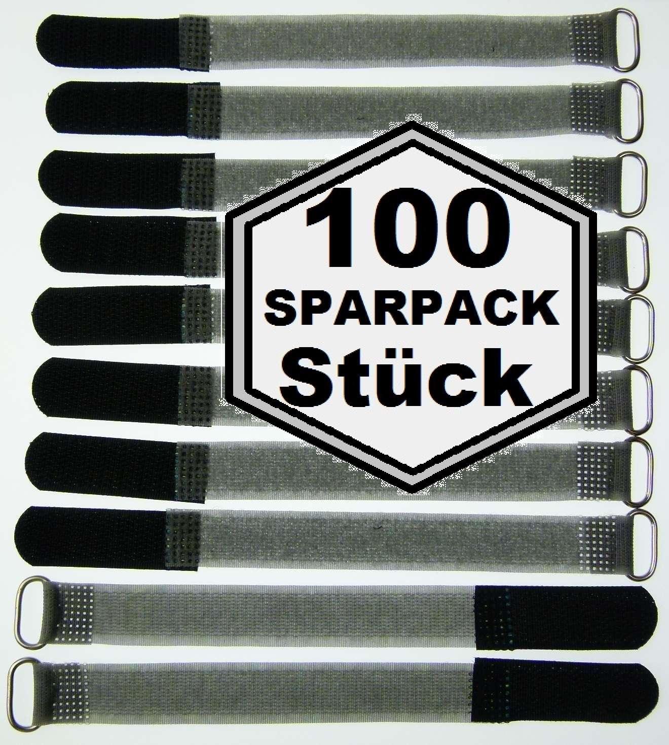 50x Kabelklett 300 x 20 mm schwarz FK Klett Band Kabelbinder Klettbänder mit Öse