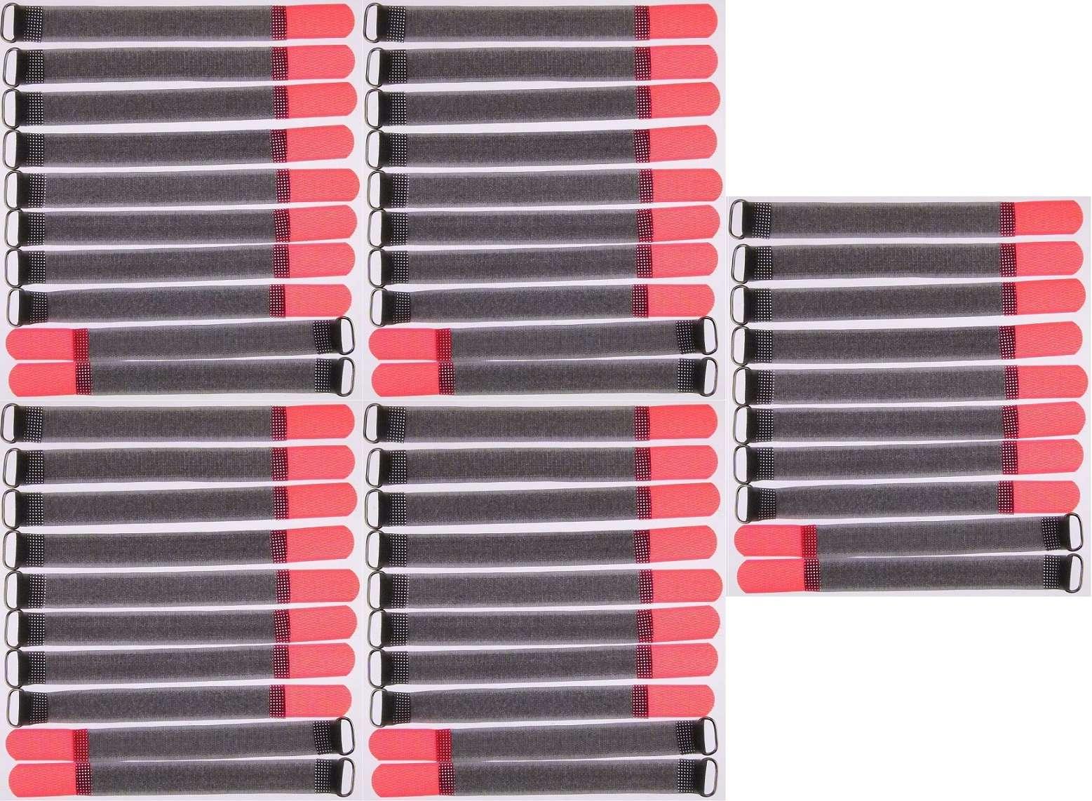 30 Klett Kabelbinder 400 x 40 mm rot Kabelklettband Kabelklett Klettband mit Öse