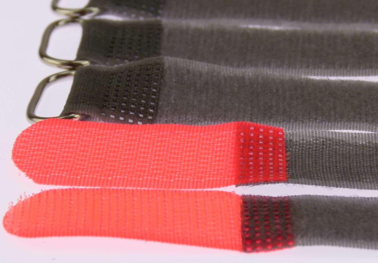100 x Klettband Kabelbinder FK 20 cm x 20 mm neon rot Klettbänder Kabelklettband