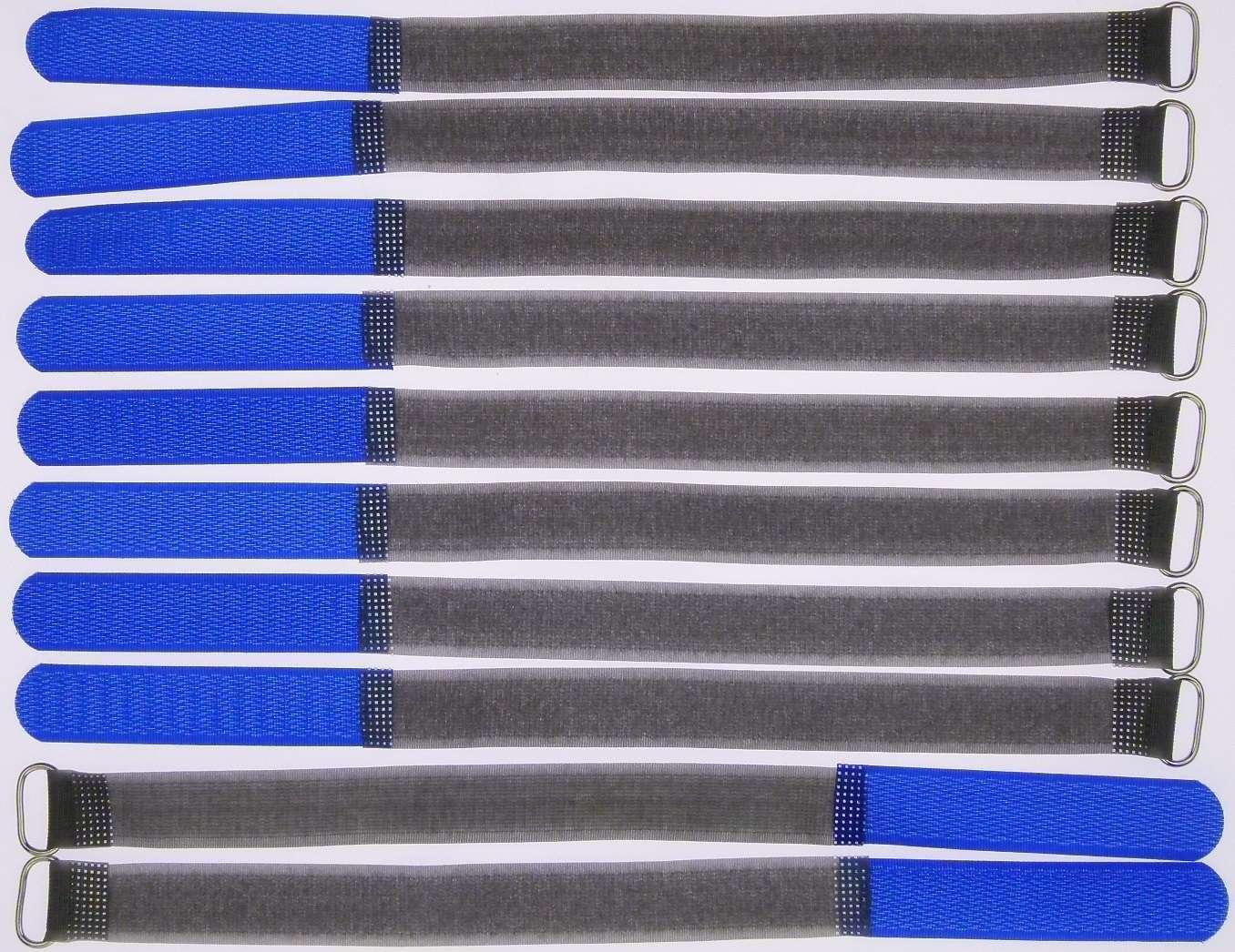 10 Kabelbinder Kabelklett 30 cm x 20 mm hell blau Klettband Klettkabelbinder Öse