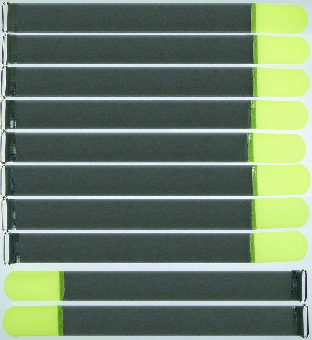 10 Stück Kabel-Klettband 50cm x 50mm neon-gelb Kabelklett Kabelbinder Metallöse