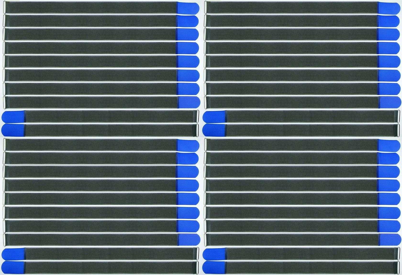 40 Klett Kabelbinder 300 x 20 mm blau FK Kabelklettband Kabelklett Klettband Öse