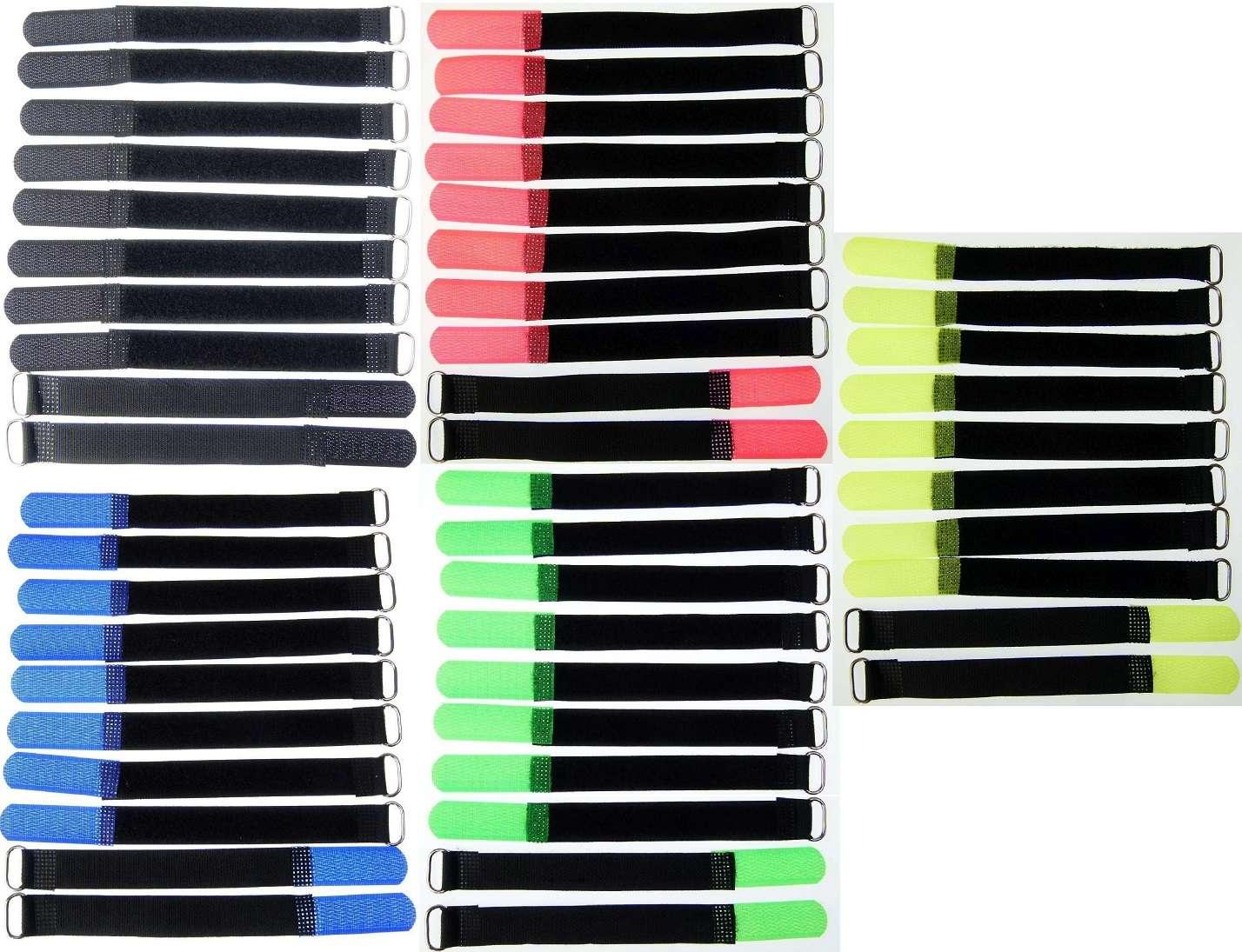 50 Kabelklettbänder 160 x 16 mm in 5 Farben Kabelklett Klettband Kabelbinder Öse
