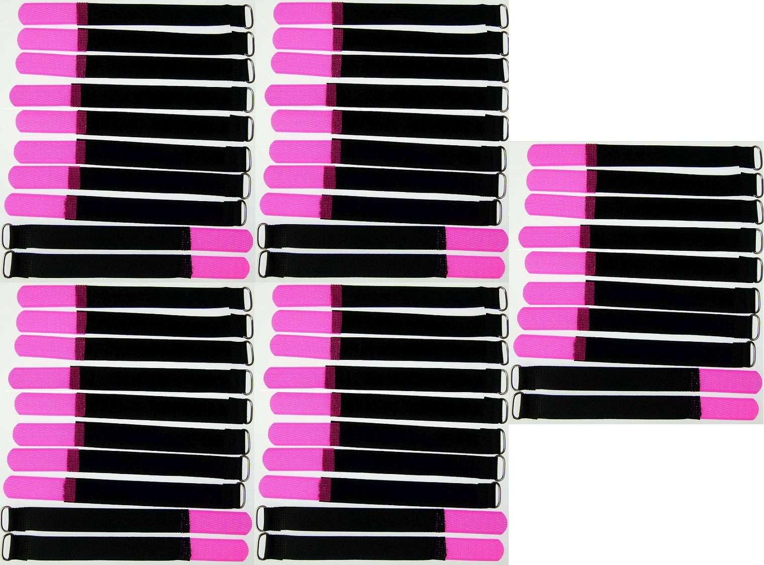 10 Kabelbinder Kabelklett 50 cm x 50 mm neon pink Klettband Klettkabelbinder Öse