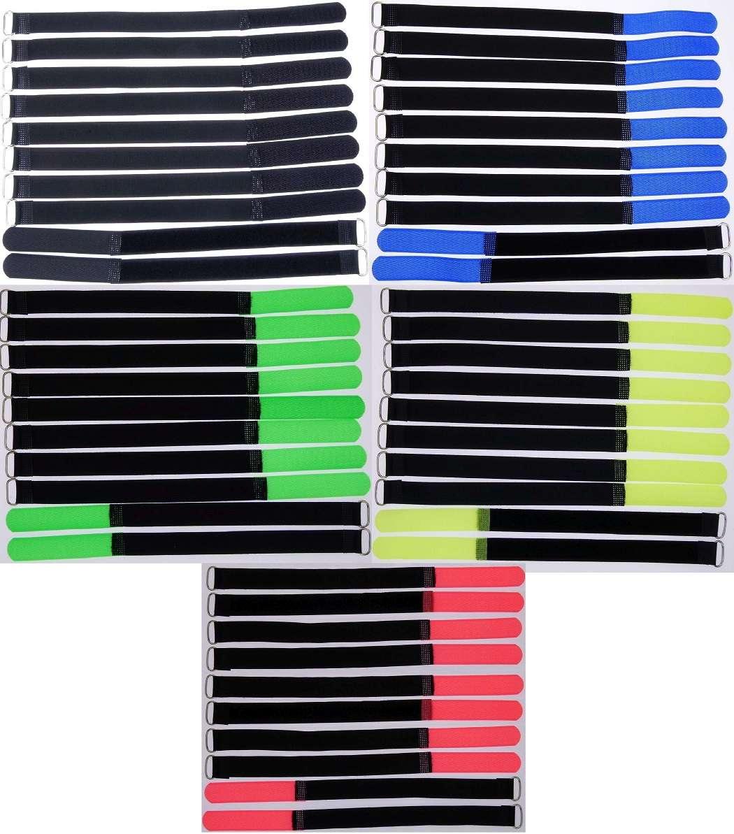 20x Kabelklett Klettband 200 x 20 mm neon grün Klett Kabelbinder Klettbänder Öse