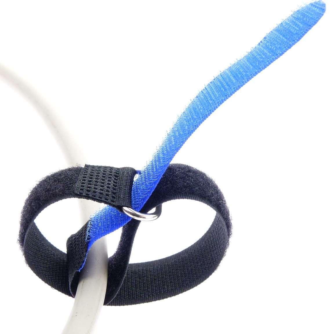 20x Klettband Kabelbinder 16 cm x 16 mm hell blau Klettbänder Kabelklettband Öse