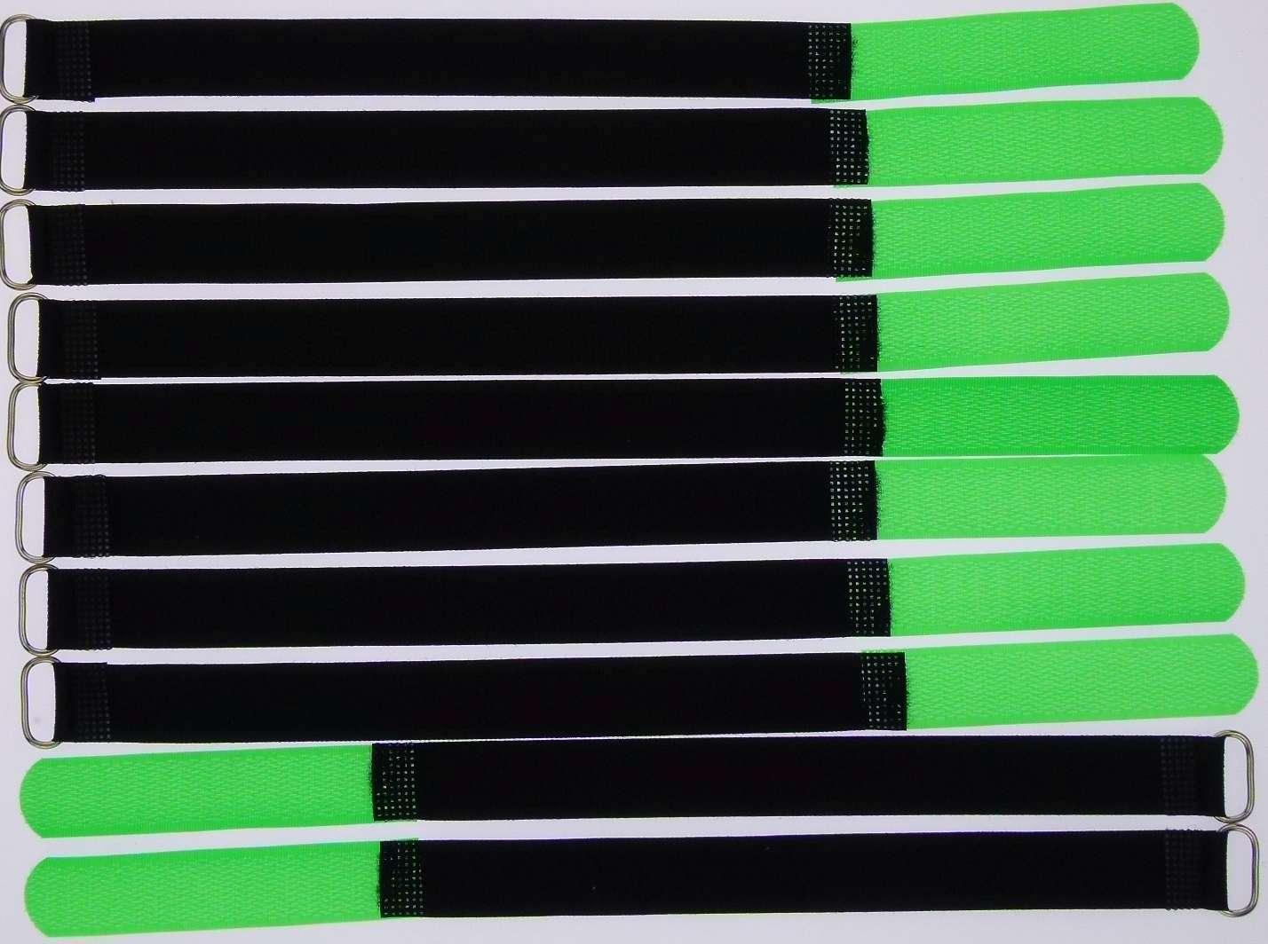 10x Kabelklettband 30cm x 20mm dunkel-grün Metallöse Kabelbinder Kabel-Klettband