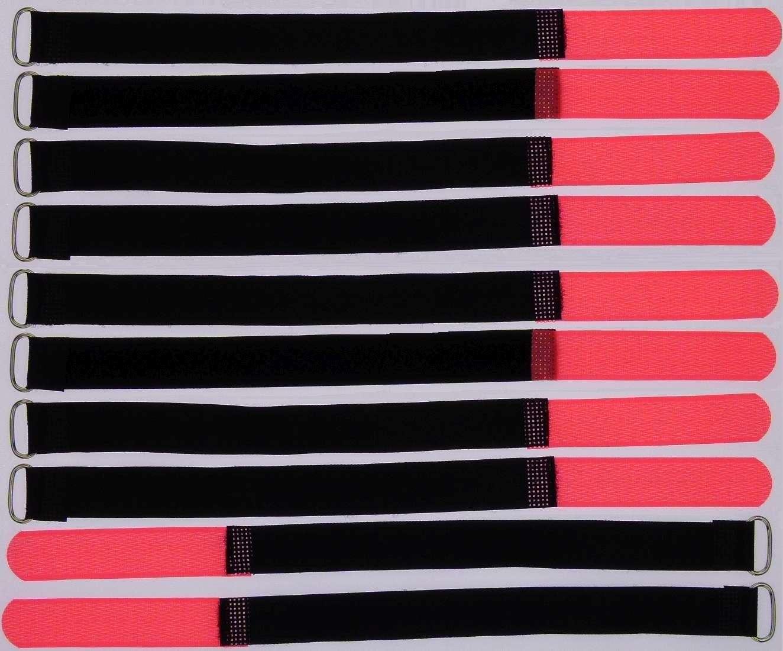 20 x Klettband Kabelbinder FK 50 cm x 50 mm neon rot Klettbänder Kabelklettband