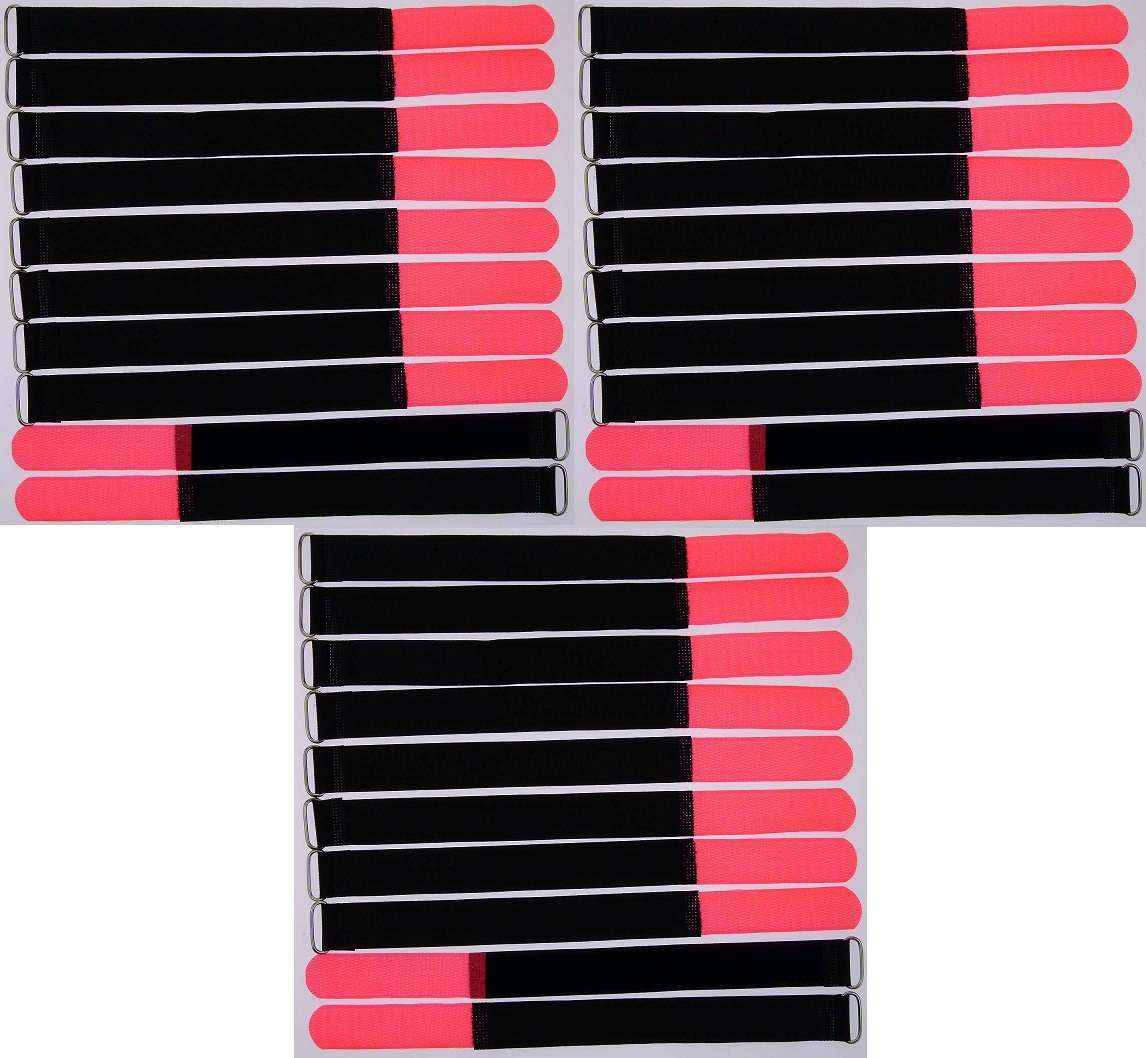 50 Kabelbinder Klettband Klett 30 cm x 25mm rot Klettbänder Kabelklett Metallöse