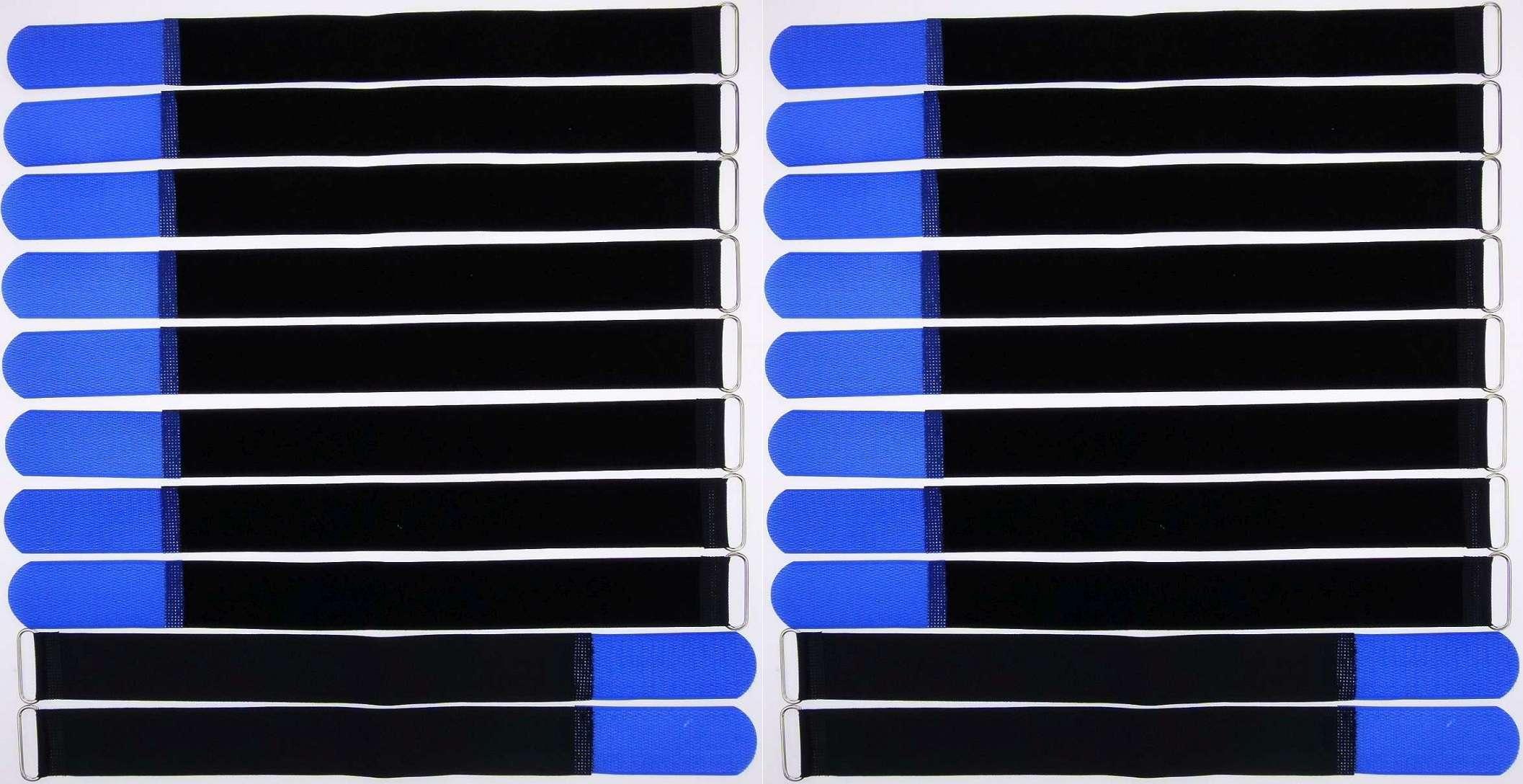 10 x Klettband Kabelbinder 50 cm x 50 mm blau Klettbänder Kabelklett Metallöse