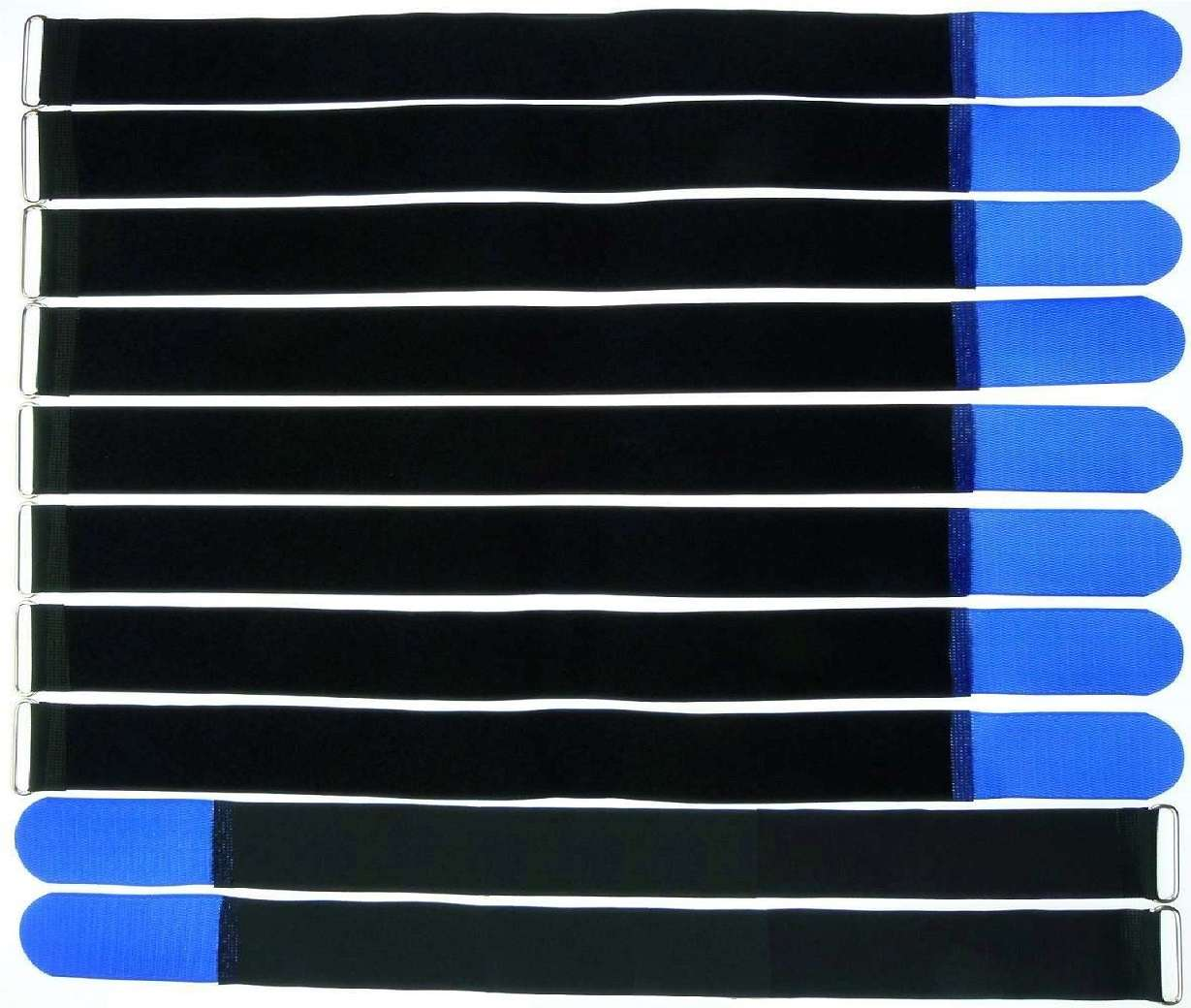 10 Klett Kabelbinder 800 x 50 mm blau Kabelklettband Kabelklett Klettband m Öse