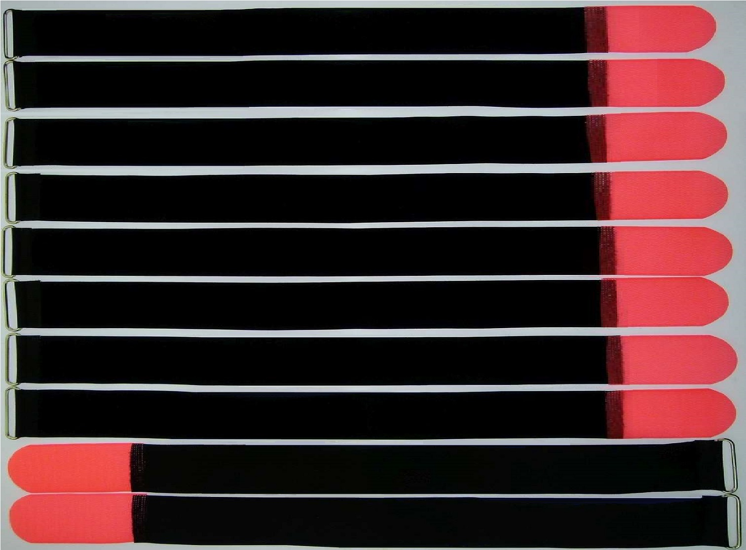 50x Kabelbinder Kabelklett 30 cm x 25 mm neon rot Klettband Klettkabelbinder Öse
