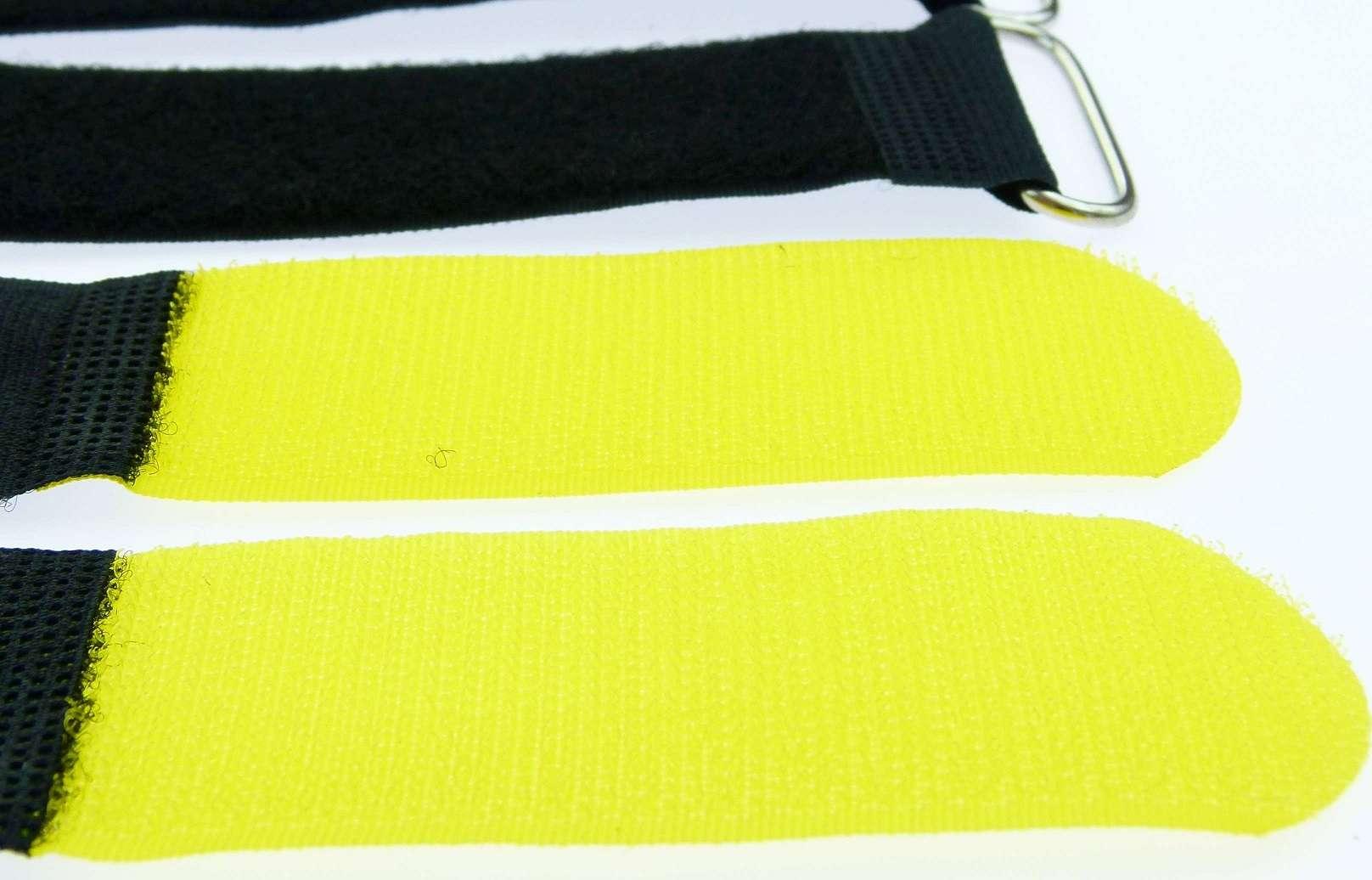 50 Kabelbinder Klettverschluss 80 cm x 50 mm gelb Klettband Klettkabelbinder Öse