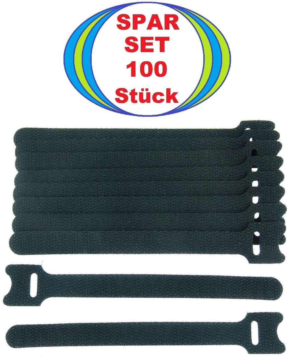 60 x Klettkabelbinder ECO GEMISCHT schwarz Klettbänder Kabelklettband NEU
