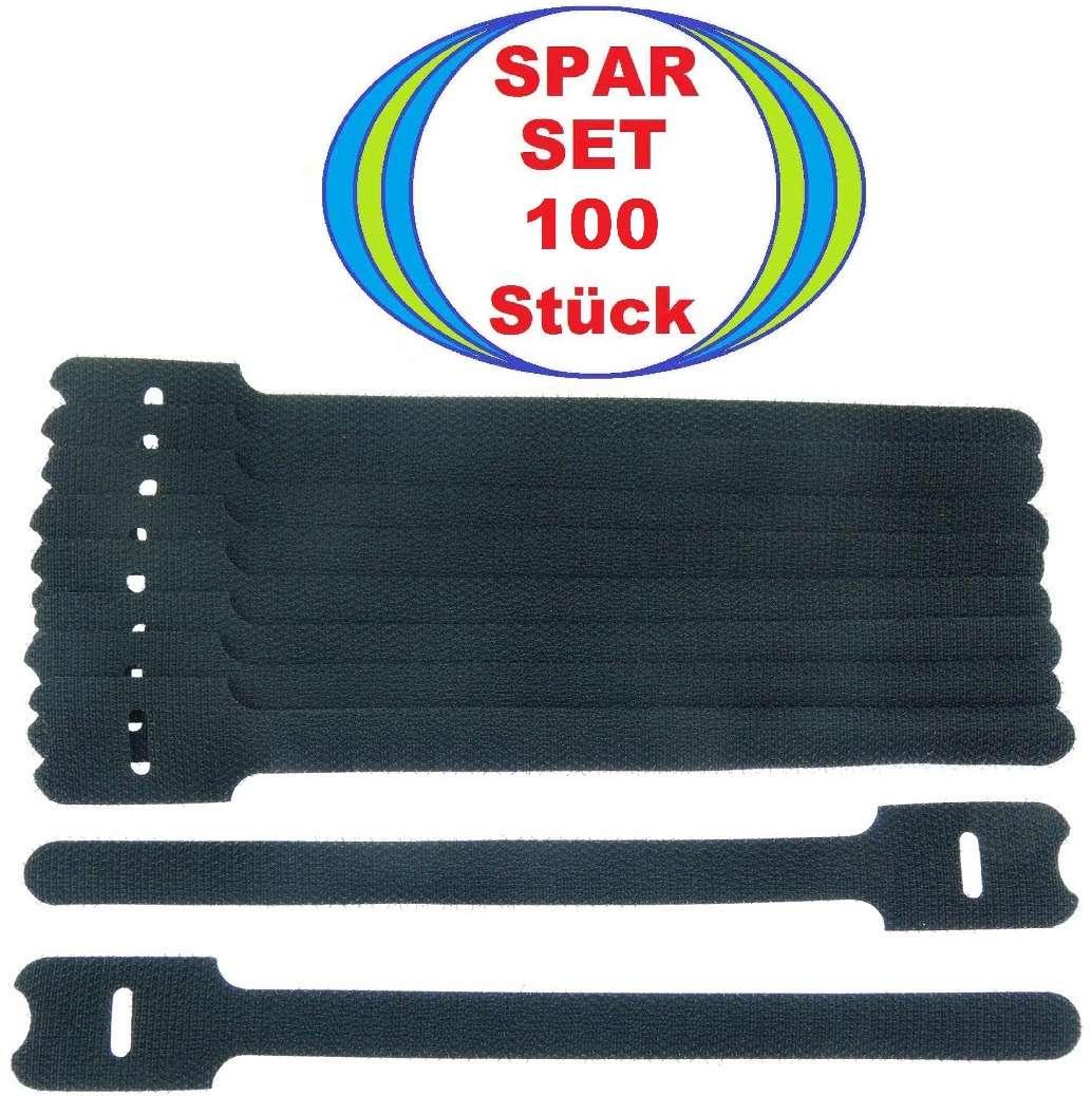 20 Klettbänder ECO 150 x 22 mm schwarz Kabelklett Klettband Klett Kabelbinder