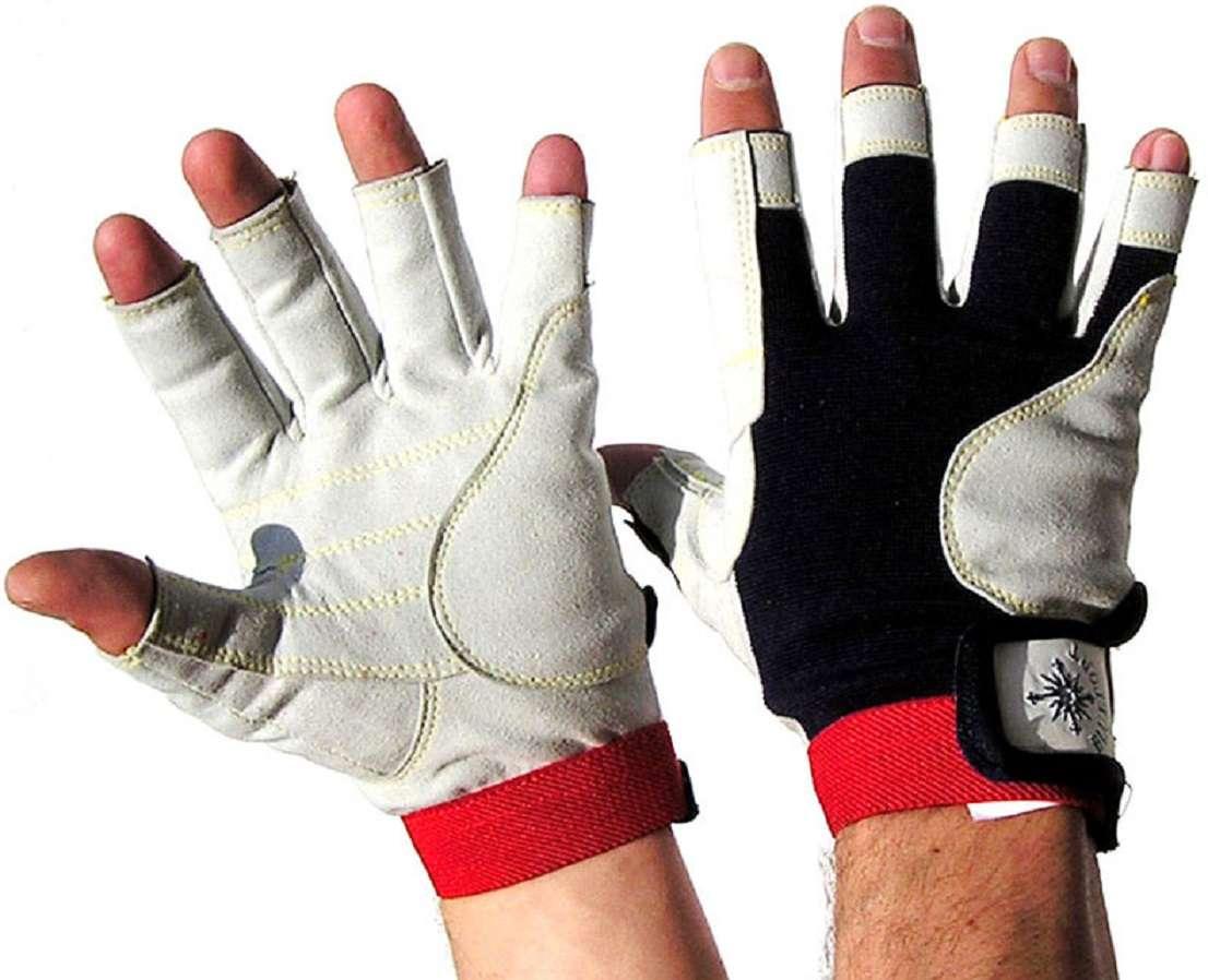 1 Paar Segelhandschuhe Leder Handschuhe 5 Finger frei  Gr XL neu S