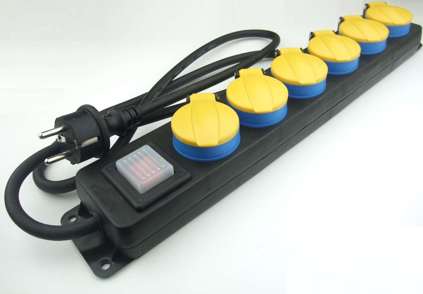 10 x 6-fach Steckdosenleiste schaltbar für Außen gelb Stromverteiler H07RN-F