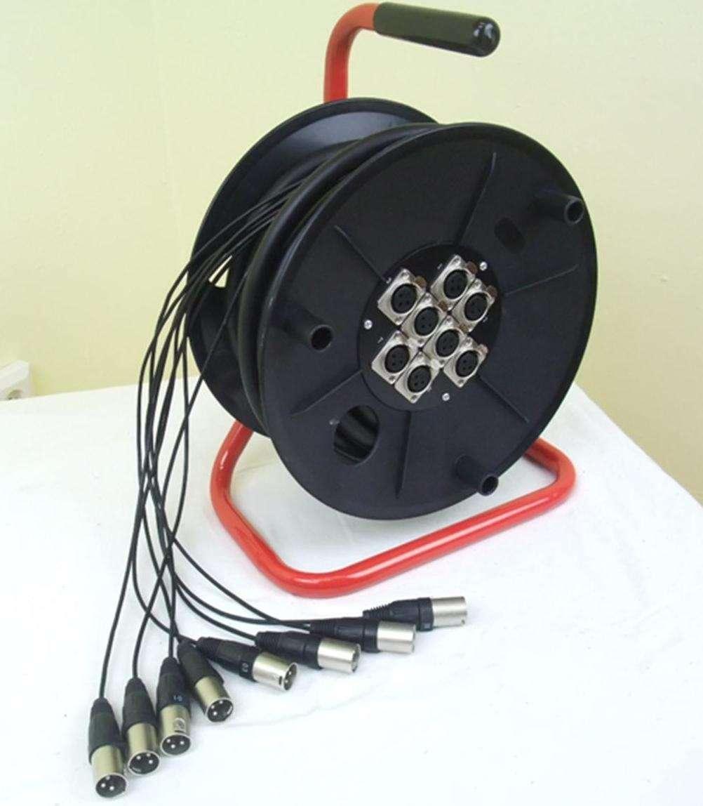 ADAM HALL Leer Kabeltrommel mit 280mm Trommeldurchmesser auf rotem Stahlrahmen