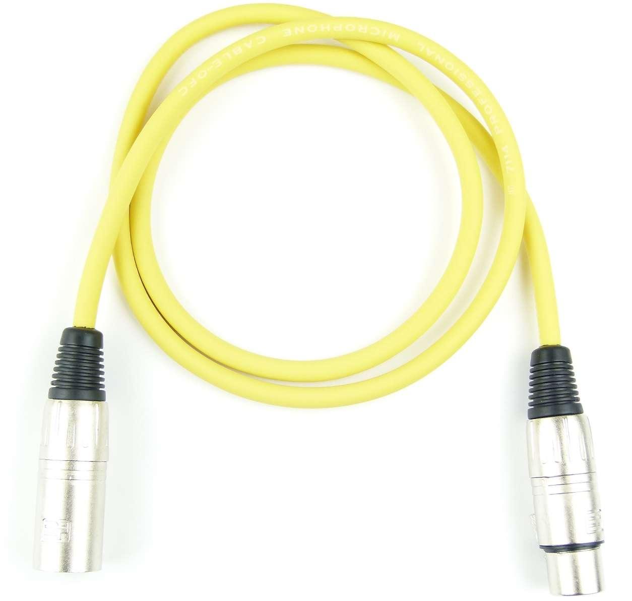 10 Mikrofonkabel 1 m Adam Hall K3 MMF 0100 GELB XLR m//f 3 pol DMX Mikrofon Kabel