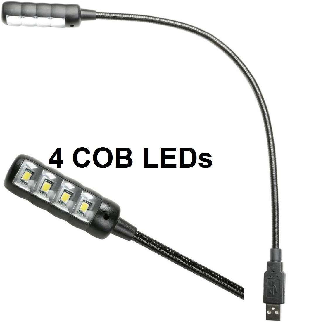 Ultrahelle USB Schwanenhalslampe mit 4 COB LED Notebooklampe 5 Farben LEDs 2 St