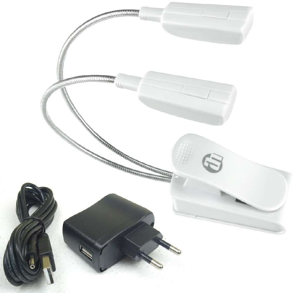 Netzteil Batterie USB 2 St LED 1-Arm Klemmlampe Leselampe Schwanenhals Lampe