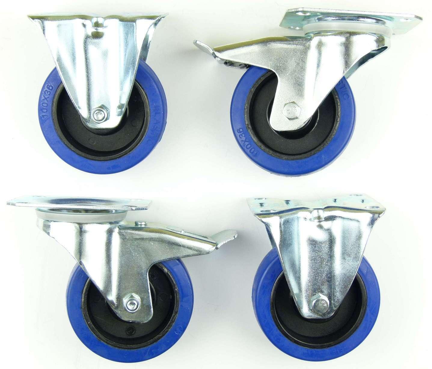 1 set sl 100 mm lenkrollen mit bremse bockrollen blue wheels transportrollen ebay. Black Bedroom Furniture Sets. Home Design Ideas