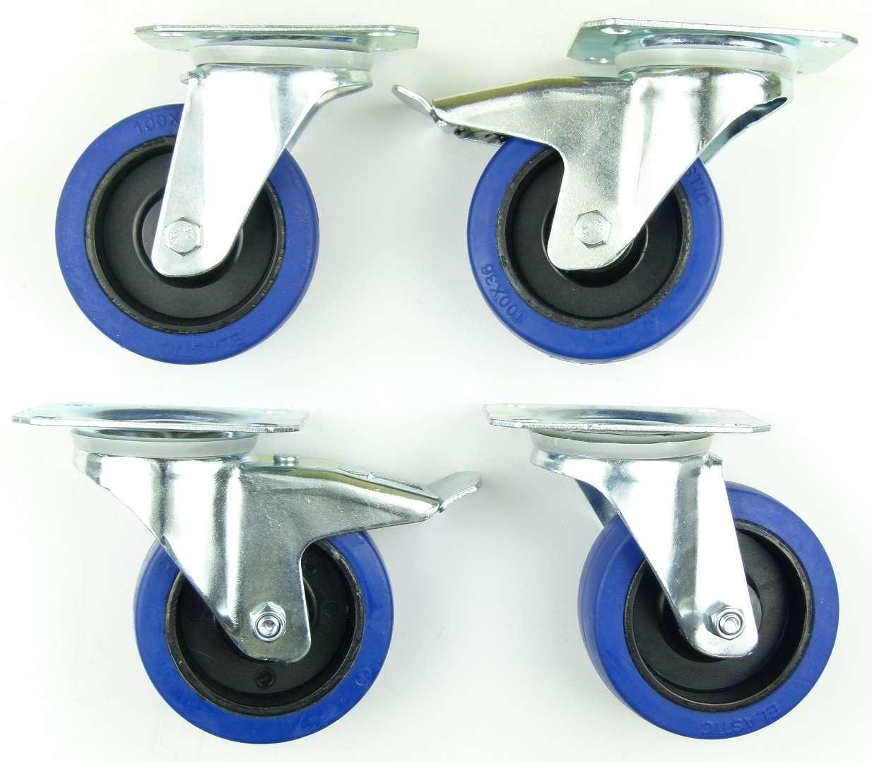 Bockrollen BLUE WHEELS Transportrollen 2 Set SL 125 mm Lenkrollen mit Bremse