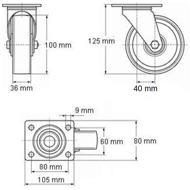 24 Stück 100 mm SL Gummi Rollen Blue Wheel Transportrollen Lenkrollen Lenkrolle