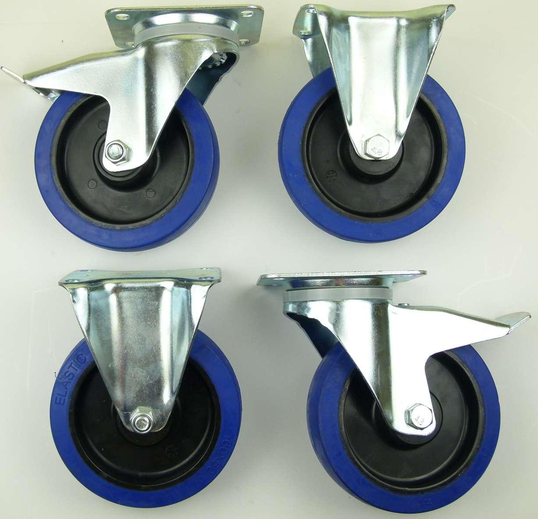 1 set sl 160 mm lenkrollen mit bremse bockrollen blue wheels transportrollen ebay. Black Bedroom Furniture Sets. Home Design Ideas
