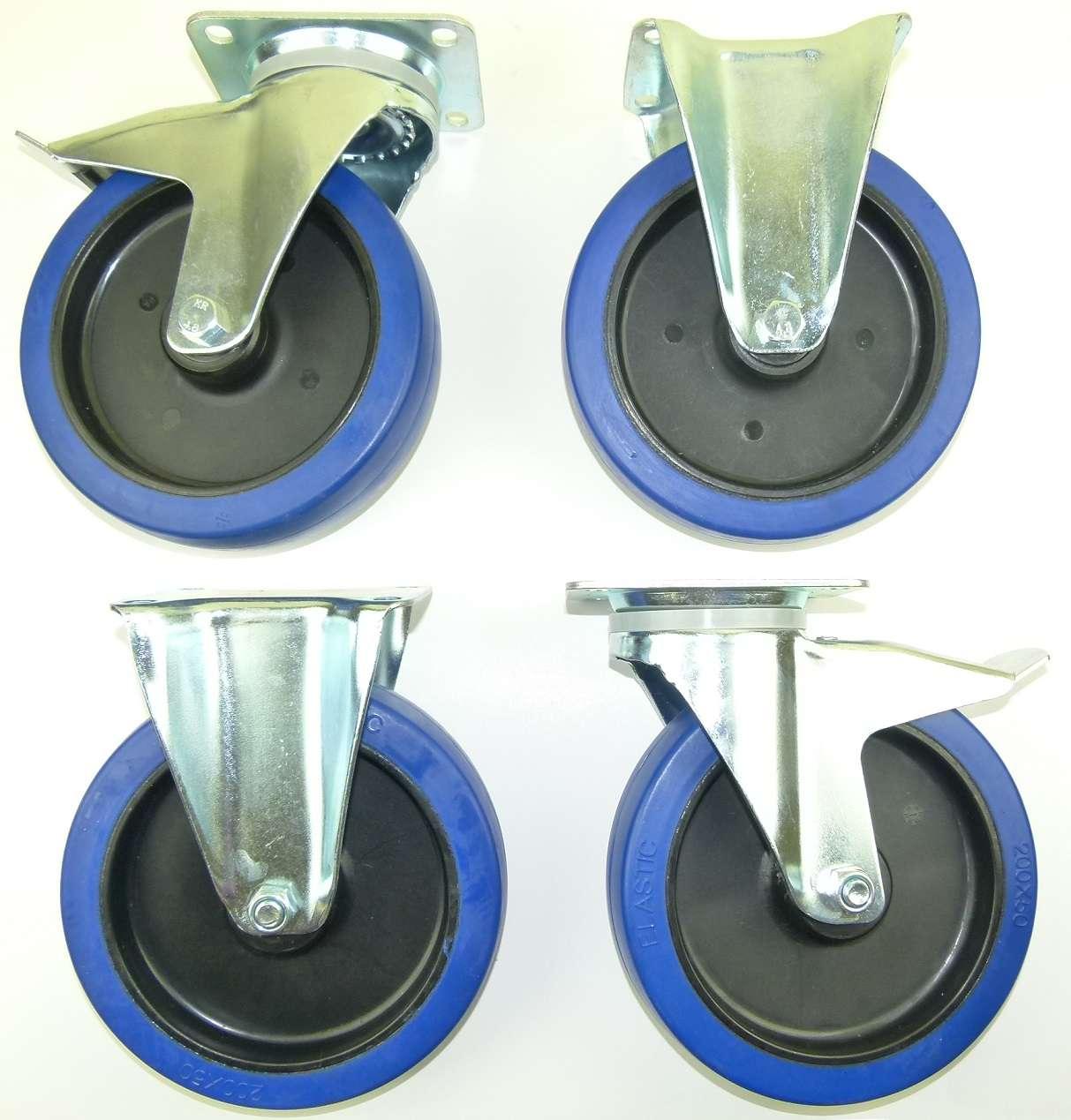 1 set 200 mm sl lenkrollen m feststeller bockrollen blue wheel transportrollen ebay. Black Bedroom Furniture Sets. Home Design Ideas