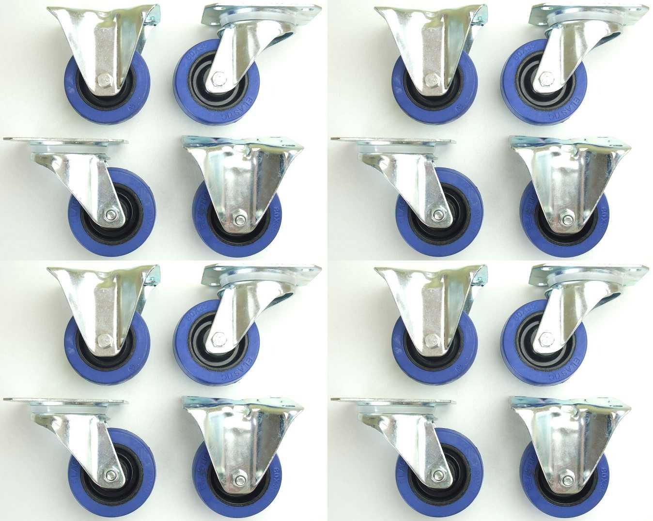 4 Set SL 80 mm Gummi Rollen BLUE WHEELS Transportrollen Lenkrollen /& Bockrollen