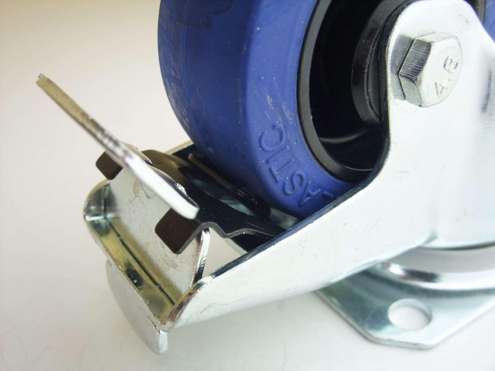 1 set sl 80 mm schwerlast rollen blue wheel bockrollen transportrollen bremse ebay. Black Bedroom Furniture Sets. Home Design Ideas