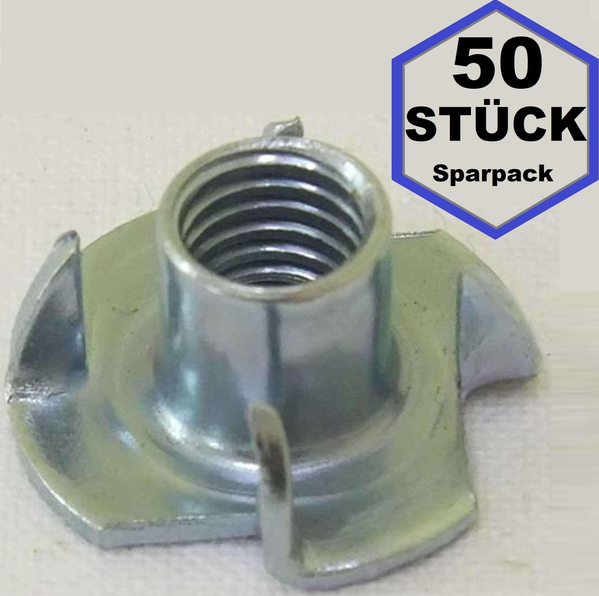 verzinkt Stück 50 Einschlagmuttern M8 Stahl galv